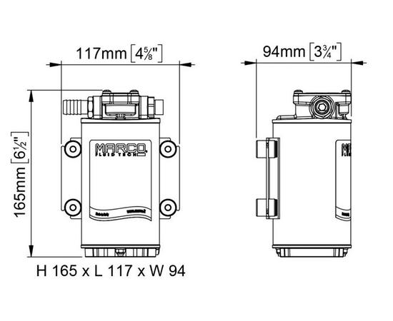 Насос шестеренный UP-12/OIL 12В Marco размеры