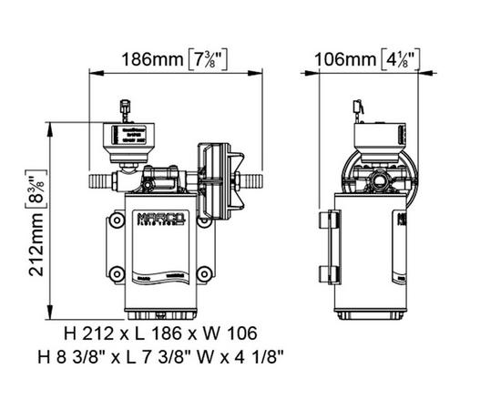 Насос шестеренный UP-9/E-BR 12/24В Marco размеры