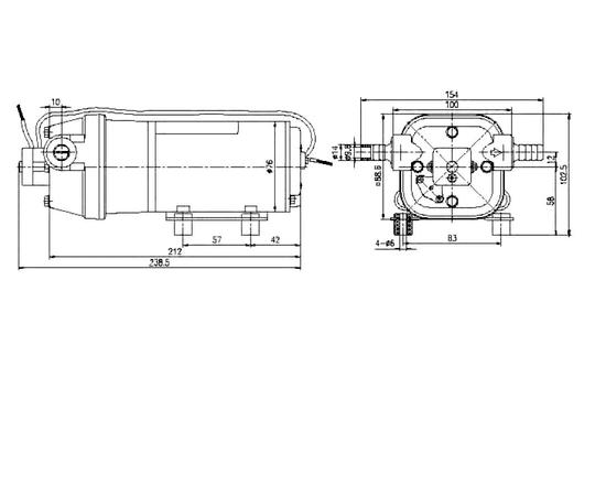 Мембранный насос CDP 35 24В размеры