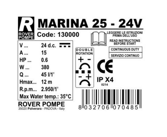 Насос MARINA 25 24В Rover Pompe характеристики