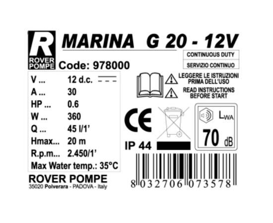 Насос MARINA G 20 12В Rover Pompe характеристики