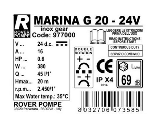 Насос MARINA G 20 24В Rover Pompe  характеристики