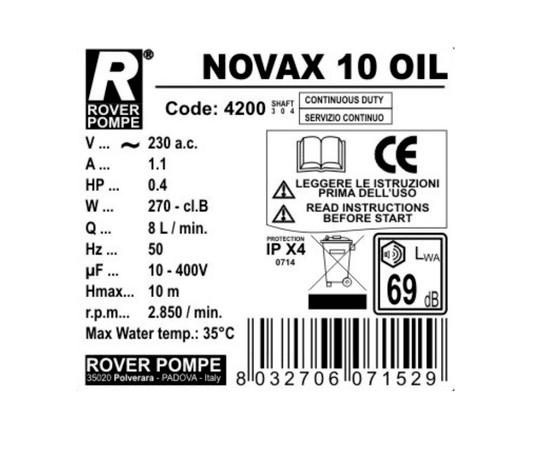 Насос NOVAX 10 OIL Rover Pompe характеристики