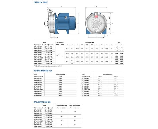 Размеры и вес CP 190-ST4