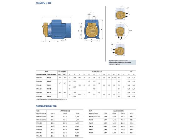 Размеры и вес PVm 65-EPDM