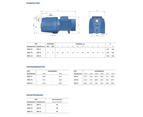Размеры и вес JSW 1 Pedrollo