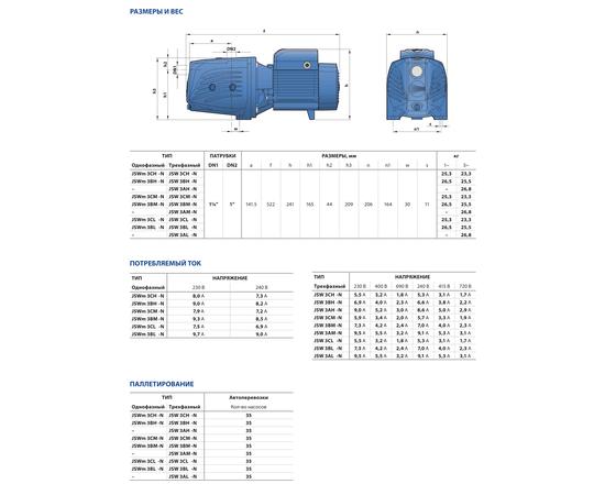 Размеры и вес JSW 3 Pedrollo