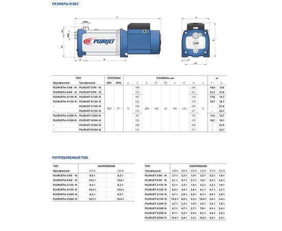 Размеры и вес PLURIJET 90-130-200  Pedrollo