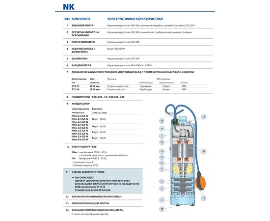 Конструктивные характеристики NK Pedrollo