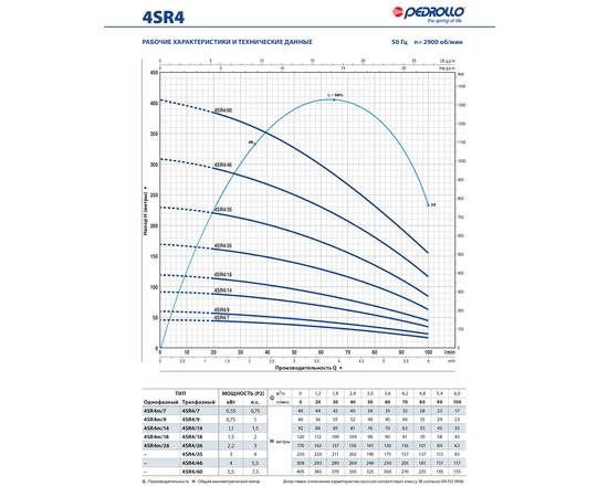 Рабочие характеристики 4SR4 Pedrollo