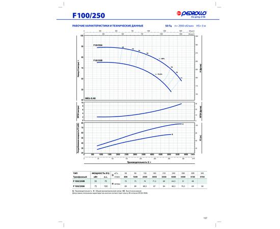 Рабочие характеристики F 100/250 Pedrollo