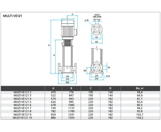 Габаритные и монтажные размеры ESPA MULTI VE121