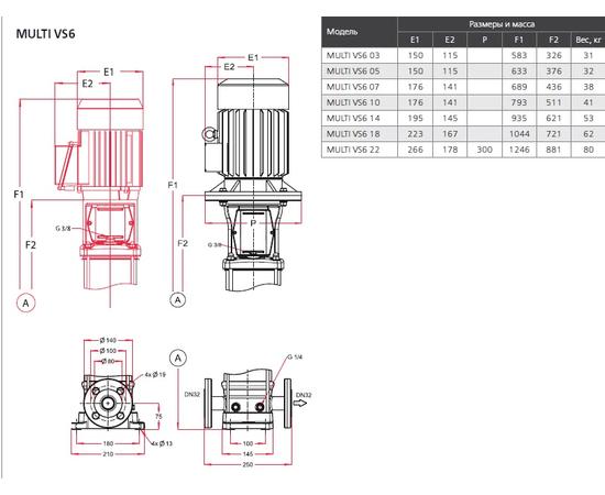 Габаритные и монтажные размеры ESPA MULTI VS6